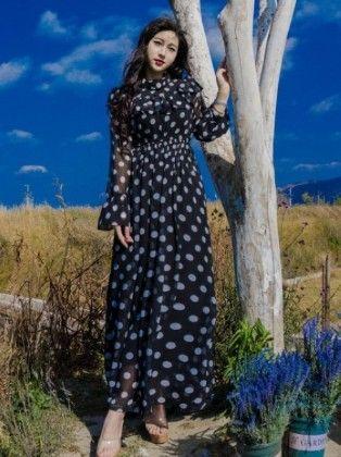 Women's Polka Printed Maxi Chiffon Dress - Mauve Collection