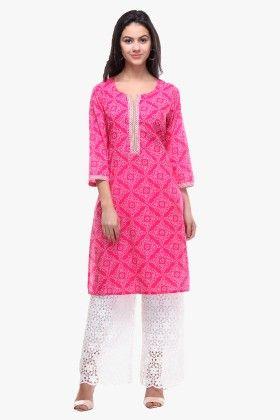 Pink Cotton Cambric Printed Kurti - Riti Riwaz