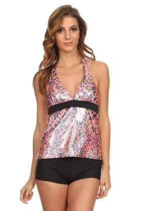 Pink Two Piece Halter Tankini With Boyshort Bottom - Dippin Daisy