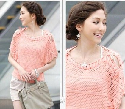 Women Casual Short Sleeve Knitted Blouse Pink - STUPA FASHION