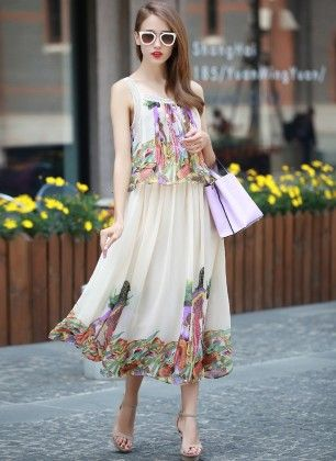 Tropical Printed Chiffon Maxi Dress - Mauve Collection