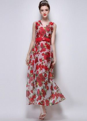 Dress Printed Maxi - Mauve Collection