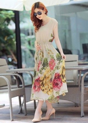 Floral Print Long Dress - STUPA FASHION
