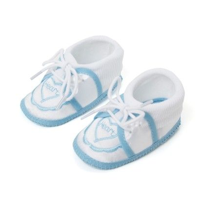 Wonderkids Heart Print Baby Booties - Light Blue