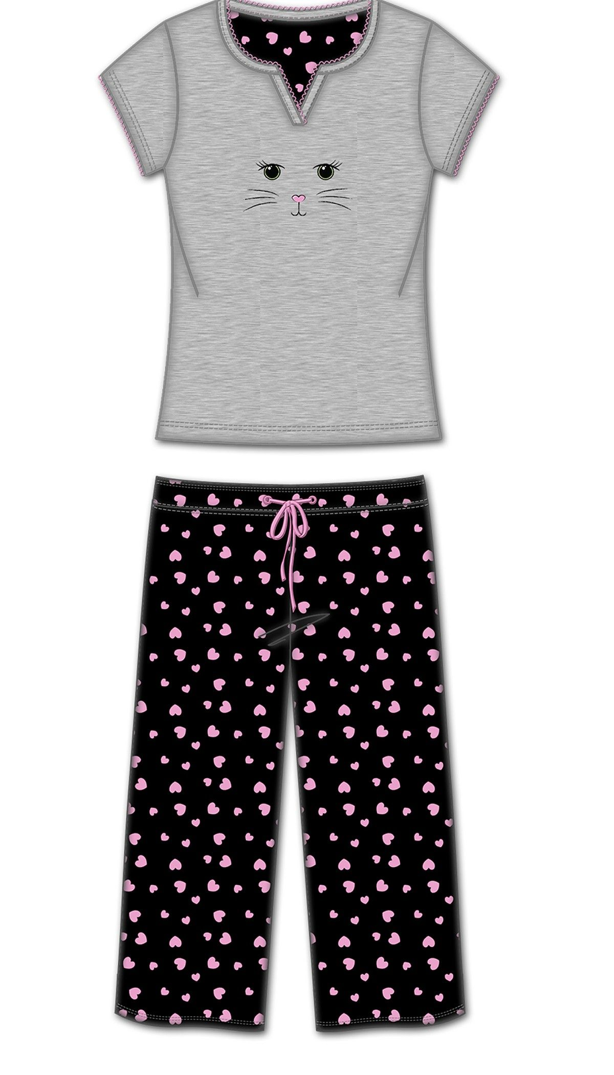 2 Pc Tshirt With Capri Pant Pj - Multi - Rene Rofe
