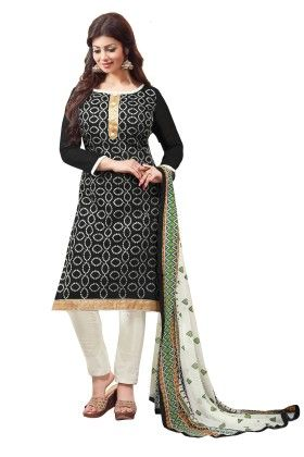 Riti Riwaz Black Embroidered Dress Material With Matching Multi Dupatta