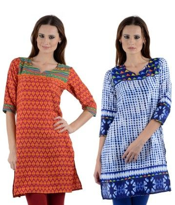 Combo Of Two Kurti Multi & White Blue - Brand Stand