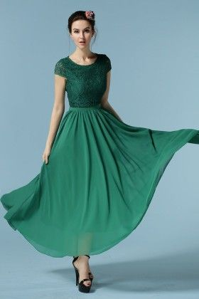 Green Chiffon Patch Work Spring Dress - Mauve Collection