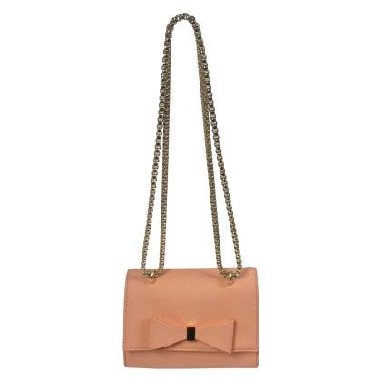 Front Bow Metal Chain Crossbody Peach - YOKI