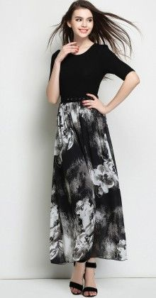 Women's Black Maxi Dress - Mauve Collection