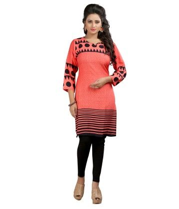 Peach Formal Printed Kurti - Brand Stand