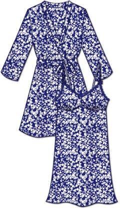 Lace Me Up Robe And Chemise Set - Blue - Rene Rofe