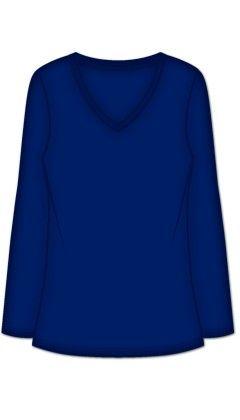 V-neck Long Sleeve - Blue - Rene Rofe