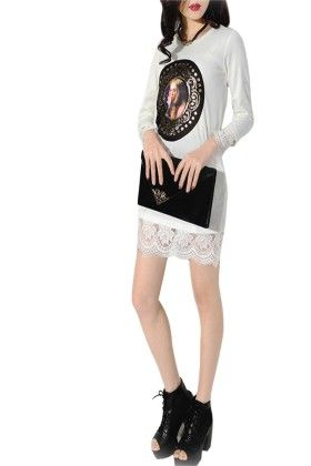 White Tunic With Lace - Mauve Collection