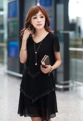 Short Sleeve Multilayer Dress - STUPA FASHION - 276168