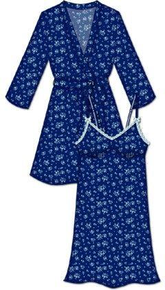 Lace Me Up Robe And Chemise Set - Dark Blue - Rene Rofe
