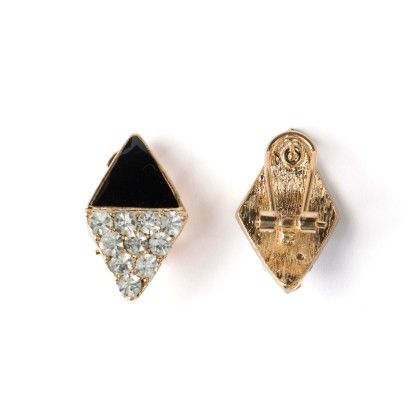 Earing Black And White Stone Studed Triangle - Wilfred Jewellery