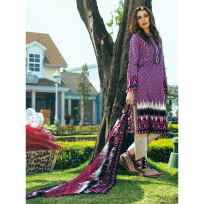 Purple & White Printed Semistitched Suit - Mauve Collection