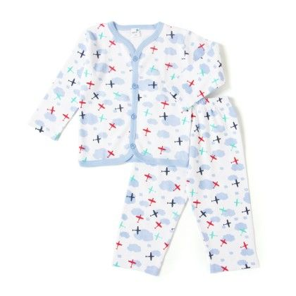 White And Blue Planes Print Boys Pyjama Set - Get It