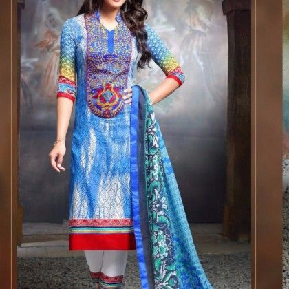 Aliyana Blue Cotton Printed With Embroidery Dress Material - Afreen