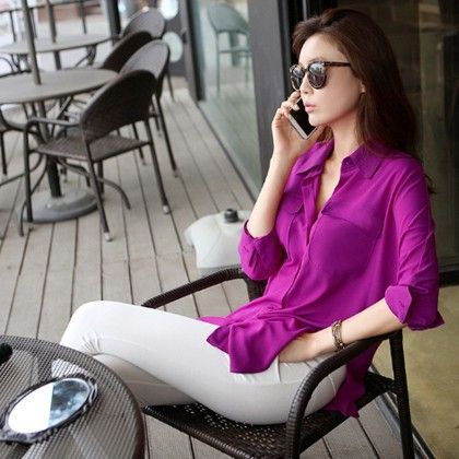 Purple Long Sleeve Chiffon Shirt Turn-down Collar Casual Loose Top - STUPA FASHION