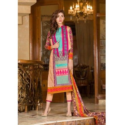 Multi Color Embroidered Dress Material - Mauve Collection