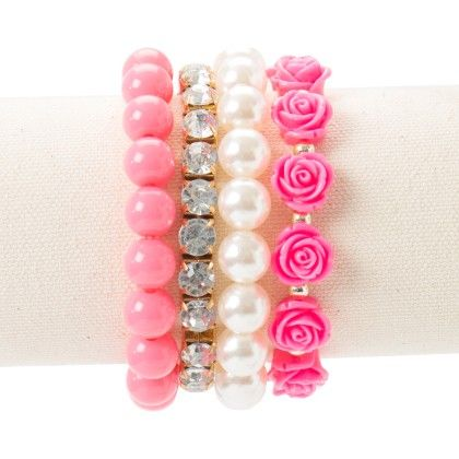 Diamond Studded With Rose And Pearl Pink Bracelet - Wilfred Jewellery