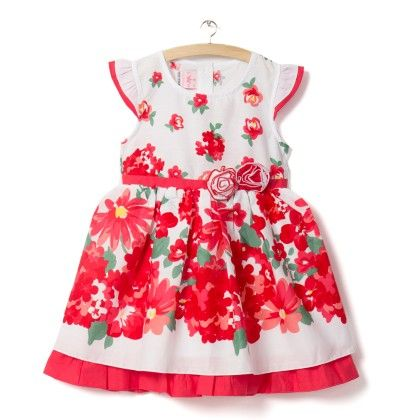 Red Cap Sleeves Floral Print Dress - Little Princess