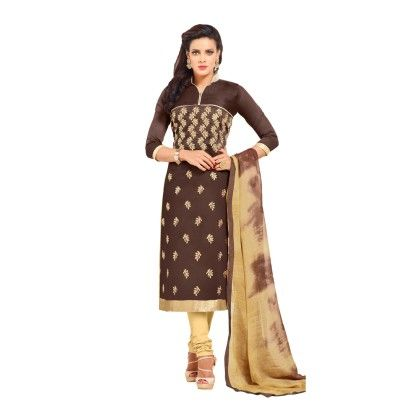 Brown & Beige Embroidered Dress Material With Matching Dupatta - Riti Riwaz