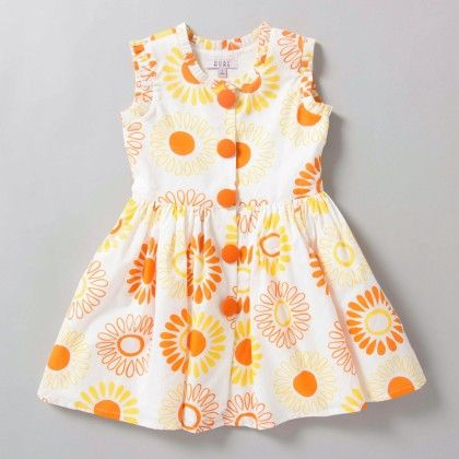 Yellow Floral Printed Dress - Aure