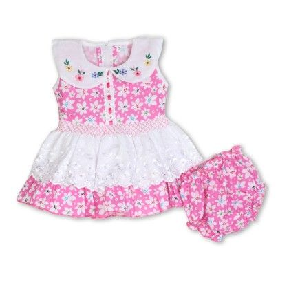 Floral Printed Dress With Bloomers - Pink - BownBee