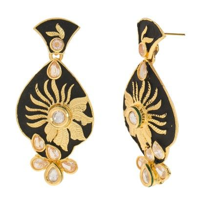 Black Matte Finish Mina With Kundan - Trends