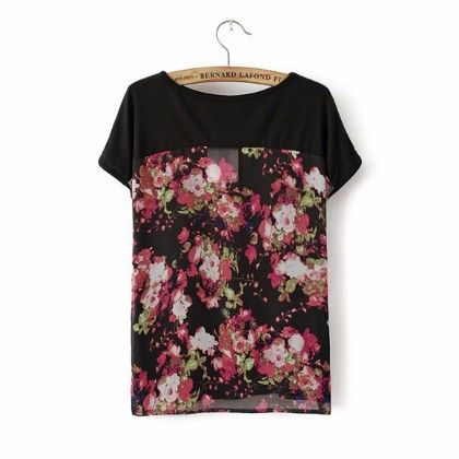 Printed Black Short Sleeves Top - STUPA FASHION