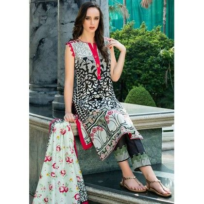 Black & Red Printed Semistitched Suit - Mauve Collection