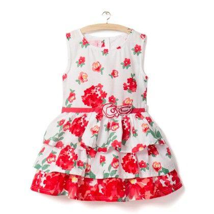 Red Sleeveless Floral Print Dress - Little Princess