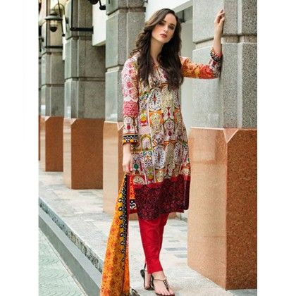 Yellow & Red Printed Semistitched Suit - Mauve Collection