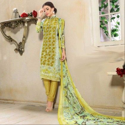 Olive Green Georgette Print With Embroidery Dress Material - Afreen