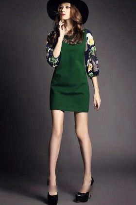 Beautiful Blended Sap Green Spring Summer Dress - Mauve Collection