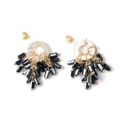 Diamond Studded Circle With Black Stone Bunch - Wilfred Jewellery