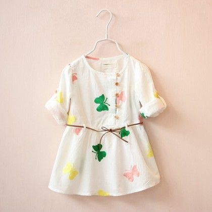 White Butterfly Print Dress With Drawstring - Lil Mantra