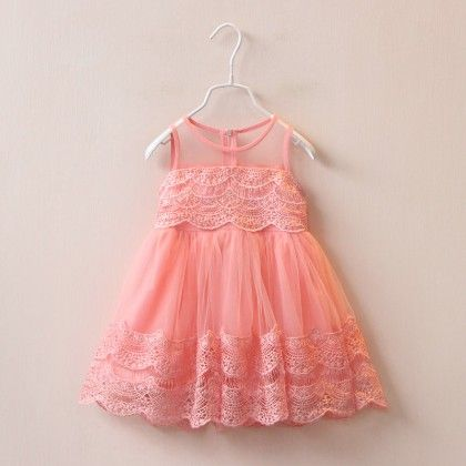 Peach See Thru Dress - Petite Kids