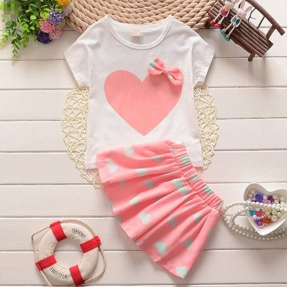 Heart Printed Top With Cute Skirt Set Peach - Lil Mantra