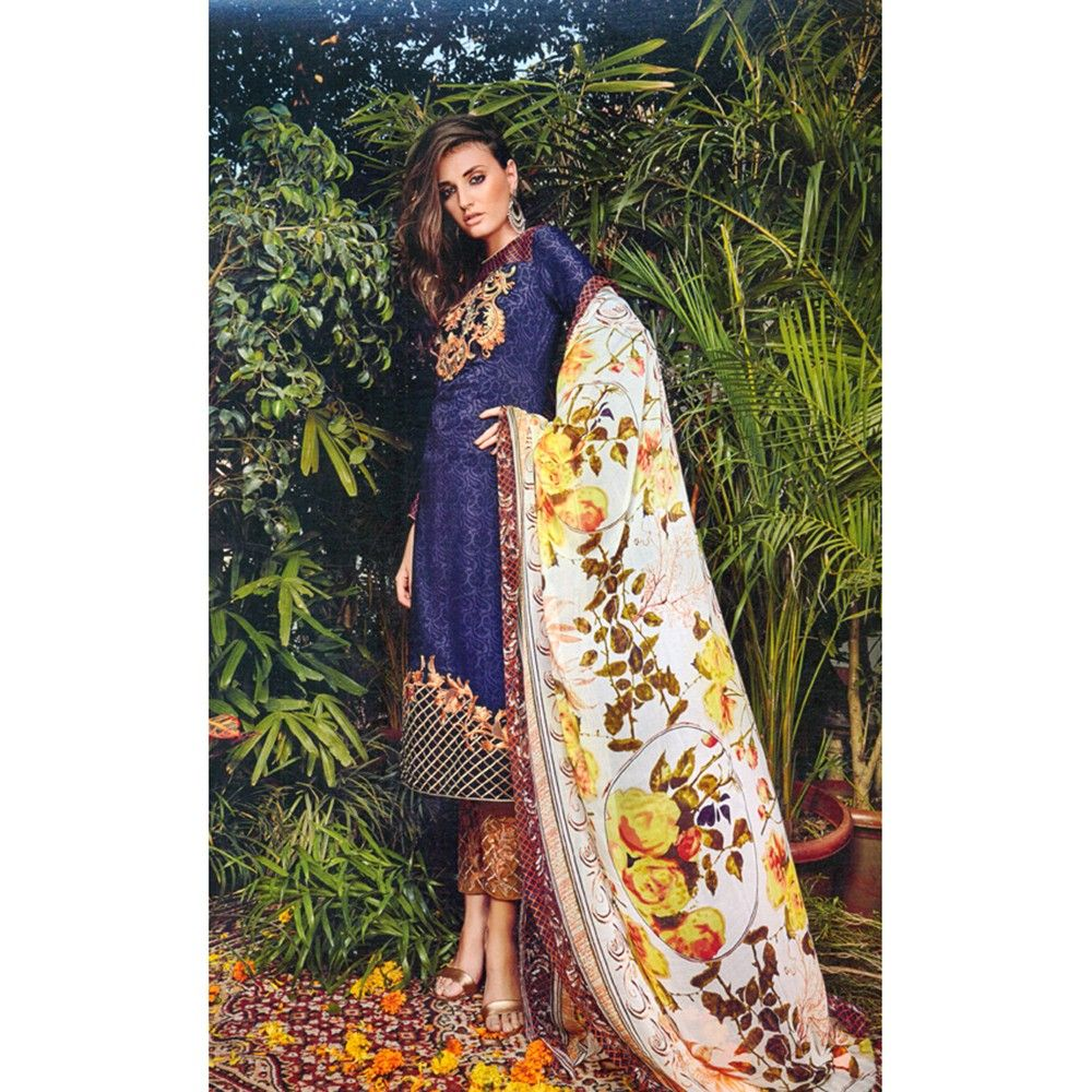 Navy Blue Embroidered Dress Materail - Mauve Collection