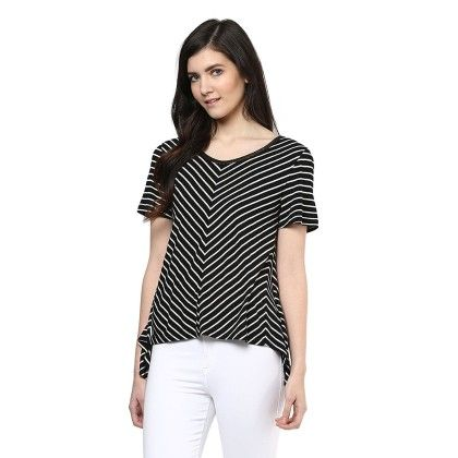 Asymmetric Hem Striper Tee - SBUYS
