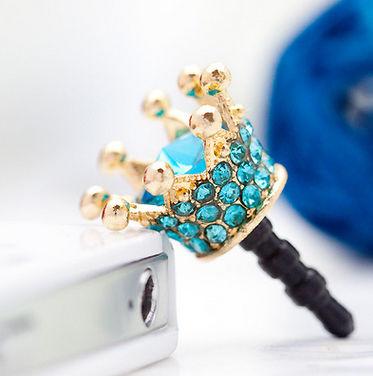 Crown Mobile Dust Plug Blue - Flaunt Chic