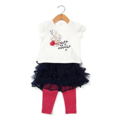 Cotton Suit With Tutu Skirt Red - Aww Hunnie!!