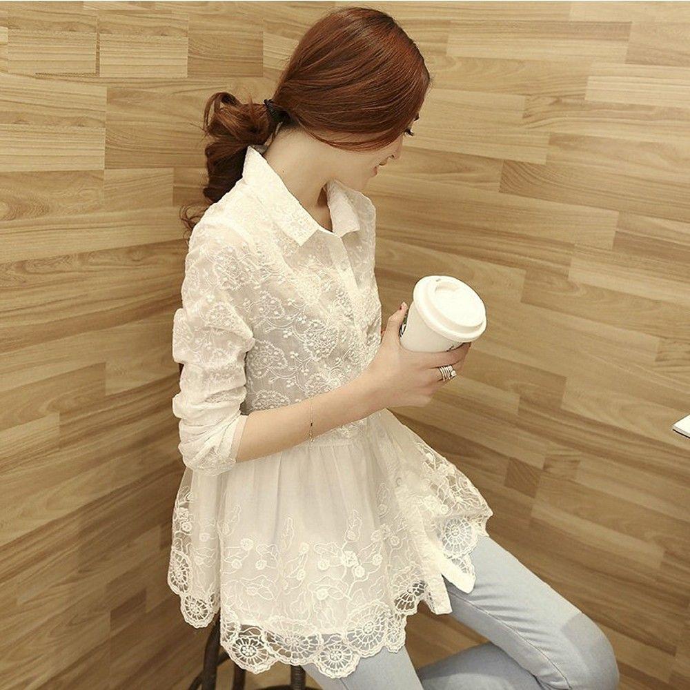 White Long Sleeve High Quality Casual Lace Blouse Female Shirt - STUPA FASHION