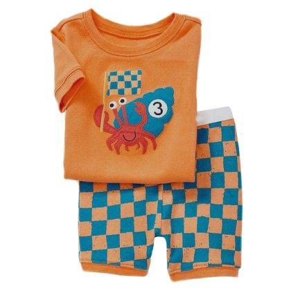 Orange Crab Print T-shirt And Short Set - Lil Mantra