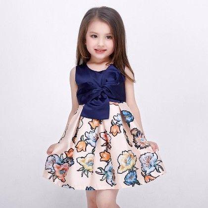 Navy Floral Peplum Dress - Petite Kids