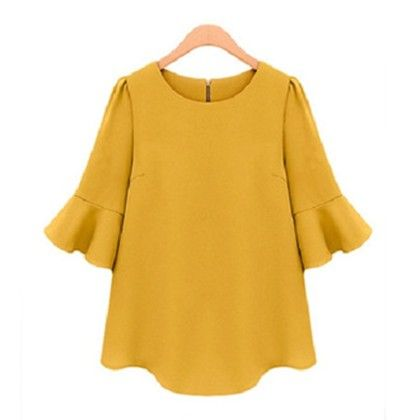Bat Wing Sleeves Yellow Top - Dell's World